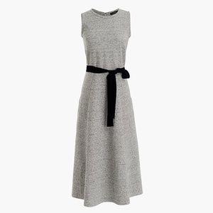 J Crew 12 A-Line Dress Velvet Tie Belt Grey